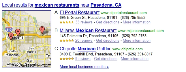 mexican restaurants Google Adds Local OneBox Results