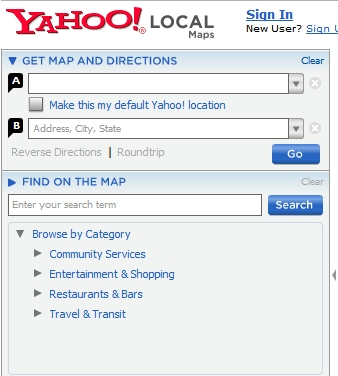 Yahoo Maps Directions Only on verizon maps and directions, yahoo! widget engine, yahoo! video, yahoo! search, nokia maps, google maps, yahoo! mail, web mapping, yahoo meme, yahoo! directory, europe maps and directions, yahoo! news, yahoo! briefcase, yahoo! pipes, galaxy maps and directions, nokia maps and directions, bing maps, yahoo! sports, bing maps and directions, hotmail maps and directions, print maps and directions, yahoo! groups,