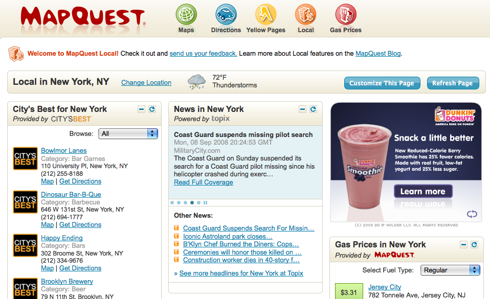 Nyc Map Quest.Mapquest Builds New Local Platform Screenwerk