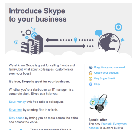 Skype Making B2B Push | Screenwerk